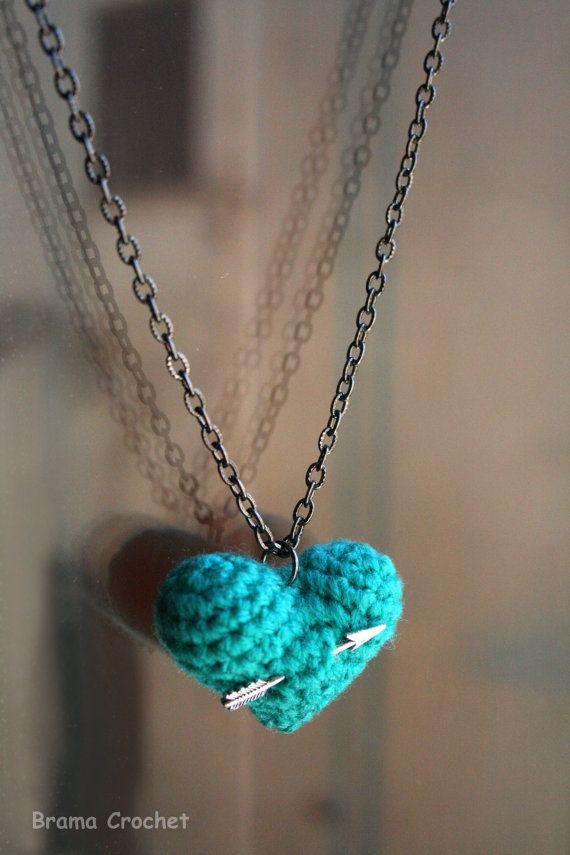 Crochet colored Heart Pendant Amigurumi Necklace and Arrow charms by Brama Crochet