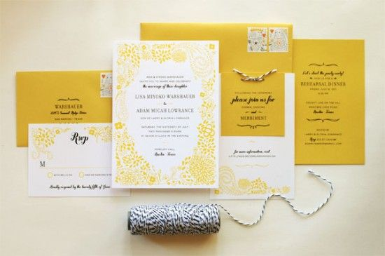Oh So Beautiful Paper: Mary + Kevin's Modern Yellow and Black Letterpress Wedding Invitations