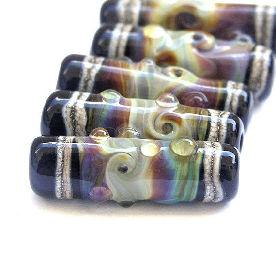 natural lampwork glass bead set