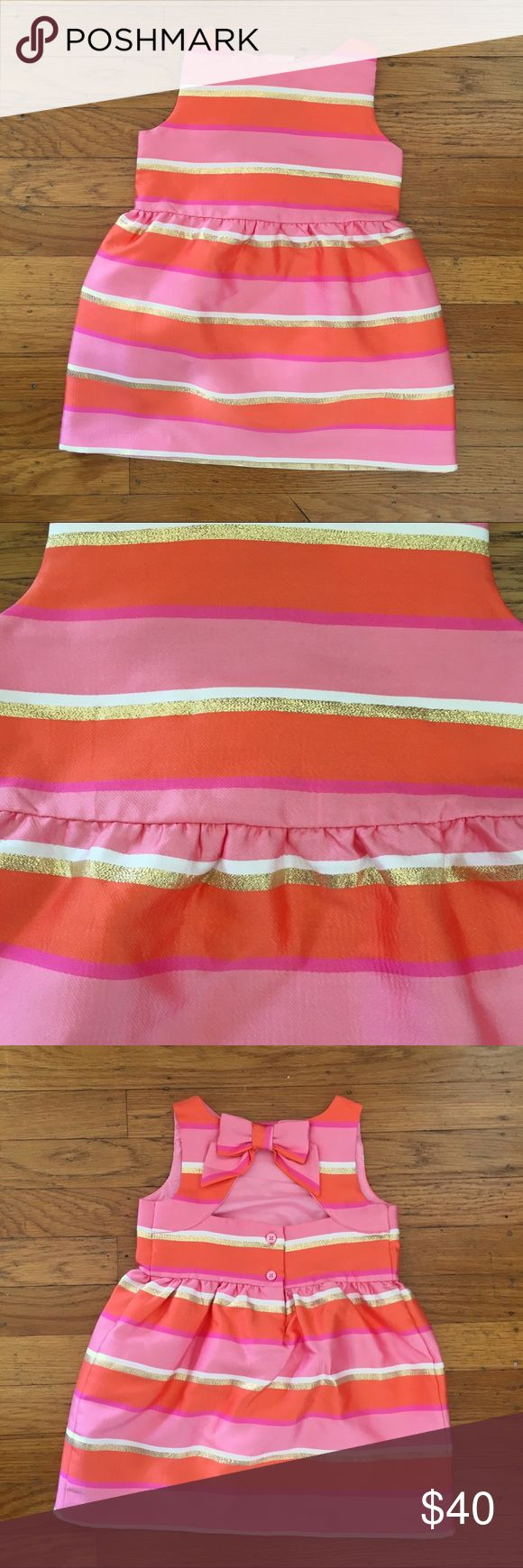 Janie and Jack dress Coral pink orange and gold striped metallic dress.  Cutout back with a bow!  So adorable for a birthday party or special occasion! NWOT Janie and Jack Dresses