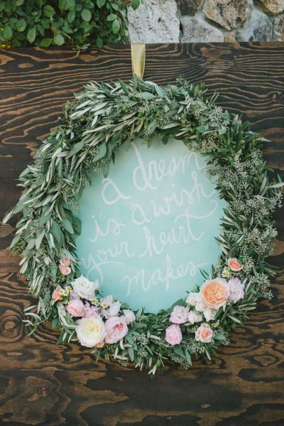 Wreath Sign: http://www.stylemepretty.com/2014/10/09/romantic-outdoor-affair-in-a-sea-of-pastel/ | Photography: Delbarr Moradi Photography - http://delbarrmoradi.com/