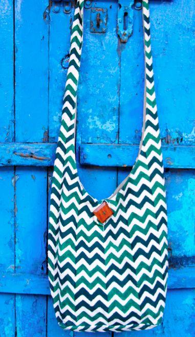811 Hippy Bag - Emerald Chevron