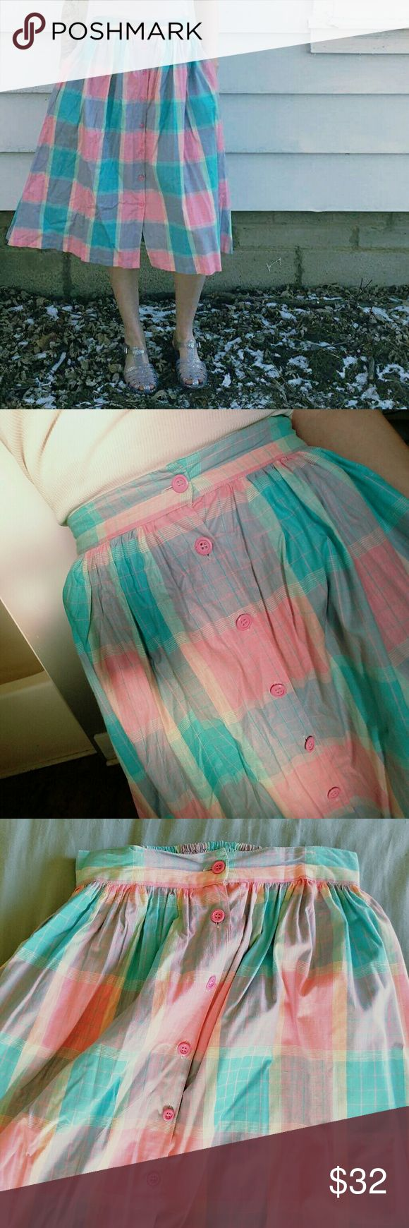 Vtg 90's Pastel Skirt Full, button front, vintage skirt Fits a size S/M, has an elastic waist.   So perfect for spring with the light pink and blue colors   Tags Lolita pastel vintage retro high waist bottoms skirt poofy grunge hipster hippie mom picnic wear Vintage Skirts Midi