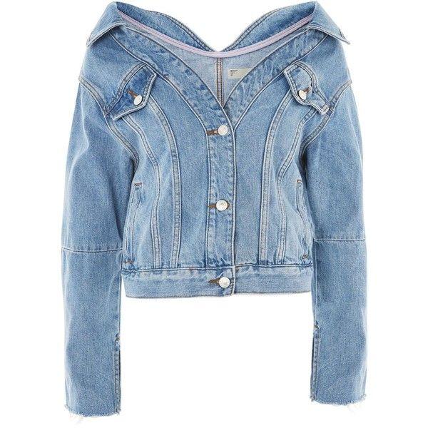 Topshop Moto Off Shoulder Denim Jacket ($61) ❤ liked on Polyvore featuring outerwear, jackets, denim, topshop, mid stone, jean jacket, blue jean jacket, denim jackets, off-the-shoulder jackets and blue denim jacket