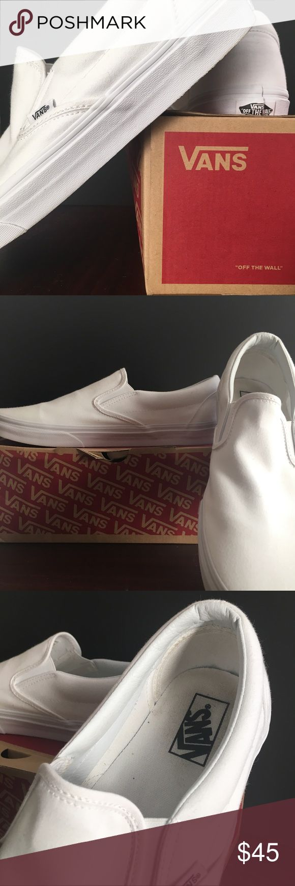 🔥All white slip on vans.🔥 A pair of all white slip on vans. Only worn once.   Very comfortable great for casual life.   No damages.  Willing to negotiate offer Vans Shoes Loafers & Slip-Ons