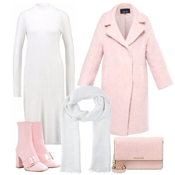 Per questo outfit: vestito in lana manica lunga e collo alla coreana, sotto il ginocchio, cappottino rosa con tasche, stivaletti rosa con fibbia, tracollina Michael Kors e sciarpa bianca. Sweet minimal.