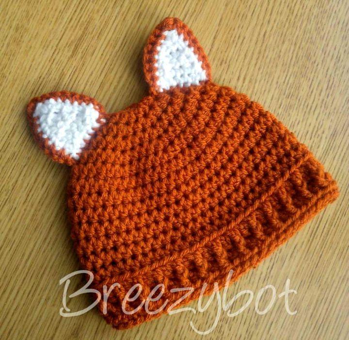 Crochet Baby Fox Hat Free Pattern - 50 Free Crochet Fox Patterns - Crochet Fox Hat - DIY & Crafts