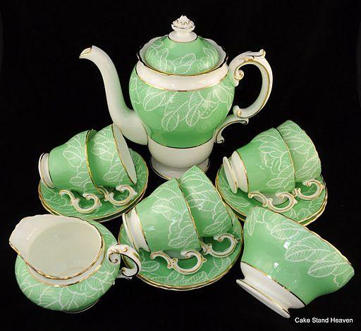 mint tea, anyone? Cauldon Pale Green China Tea Set