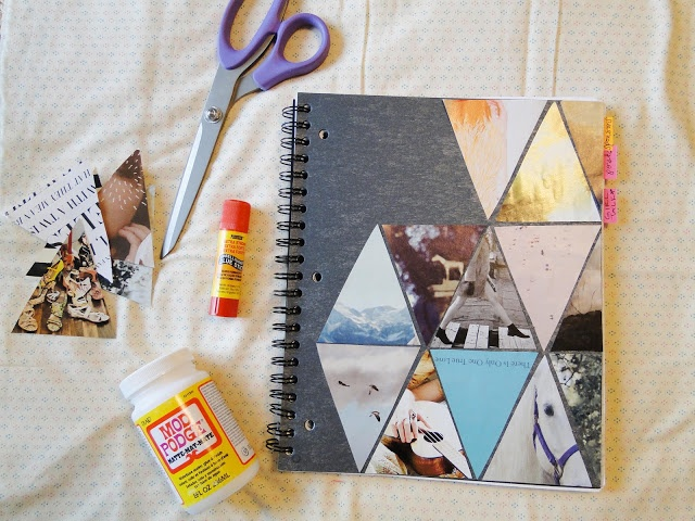 Notebook cover of pieces of pictures http://pienthesky.blogspot.com/2012/02/triangle-love-diy.html