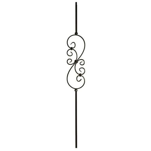 Best Wm Coffman Scroll Series 44 In Satin Black Wrought Iron Classic Stair Baluster At Lowes Com 400 x 300