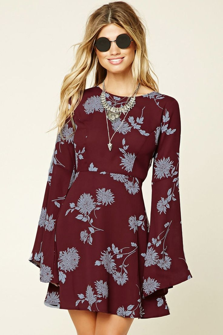 Forever 21 Contemporary - A woven skater dress featuring a floral print, long bell sleeves, a self-tie back, concealed zipper, and a flared hem.