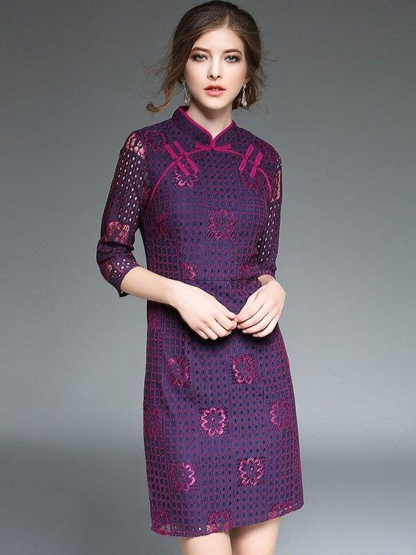 Stylish Purple Crochet Lace Qipao / Cheongsam Dress