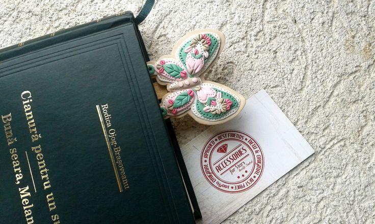 http://accessoriesforstars.blogspot.ro/2015/04/semn-carte-vintage-butterfly.html #bookmarks #butterfly #vintage #softcolours #pink #green #ivory #handmade #polymer #accessoriesforstars