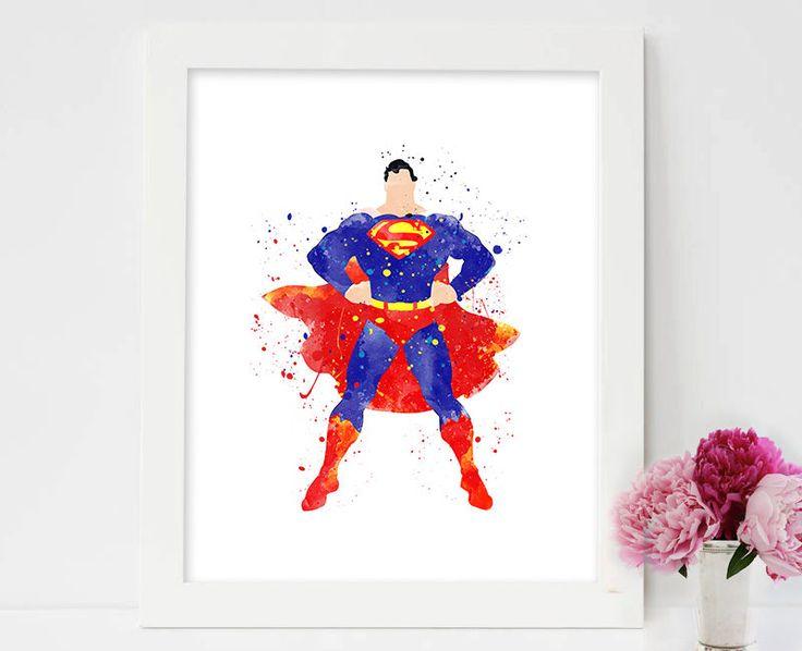 SET of 4 Prints, Superman print, watercolor, superman Poster ,superhero ,superman wall art, DC Comics Marvel, Nursery, Kids Bedroom Decor by colormykidsroom on Etsy https://www.etsy.com/listing/486733157/set-of-4-prints-superman-print