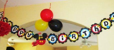 """Mickey: banderines de """"Happy Birthday!"""" para Imprimir Gratis."""