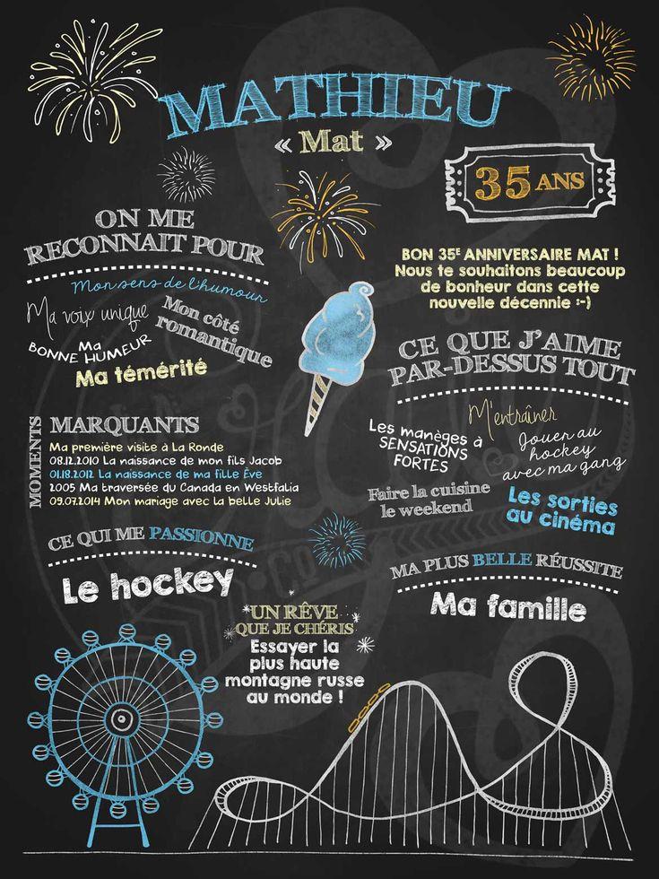 Affiche personnalisée anniversaire pour adulte Fou des manèges | 35,00$ #chalkboard #lacraieco