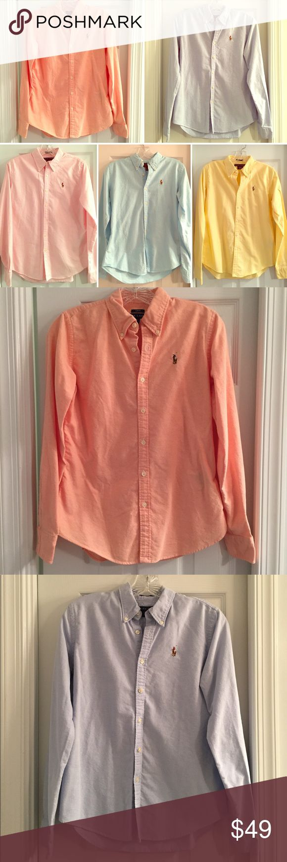 BUNDLE: 5 Ralph Lauren Oxford Shirts, 25% off! Buy more and save!  5 Ralph Lauren Cotton button-down Oxford shirts.  Slim-fit women's size 6. Colors: orange, yellow, blue, turquoise, pink & white striped (my favorite!).  They're in good condition, with minor flaws - yellow shirt has a small stain by the bottom button, pink shirt is missing a button.  They're listed individually in my closet for $13 each; buy all 5 for a 25% discount! Ralph Lauren Tops Button Down Shirts
