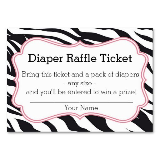 Cake Raffle Clipart : Black and Pink Zebra Diaper Raffle Ticket Business Card ...