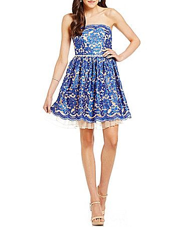 Jodi Kristopher Embroidered Lace Scalloped FitandFlare Party Dress #Dillards