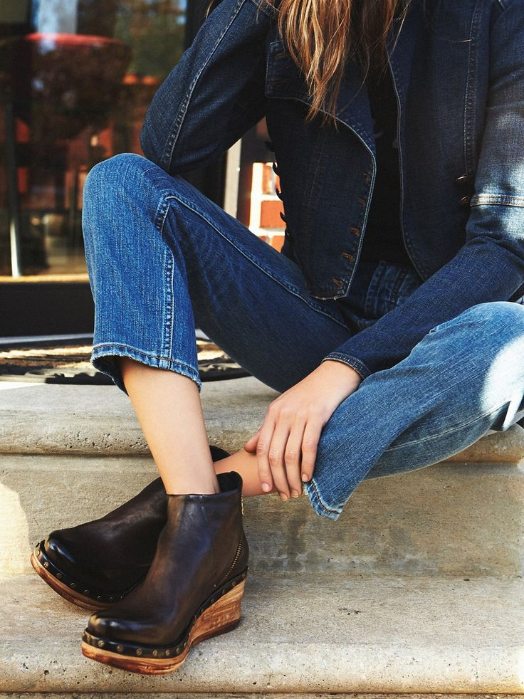 Below Sunset Clog Boot | Supple leather clog ankle boots featuring platform heel and inner zip detailing. Studded accents around the base. Rounded toe.