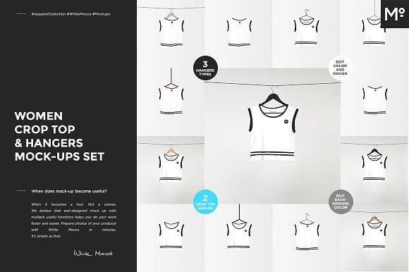 Women Crop Top & Hangers Mock-ups by Mocca2Go/mesmeriseme on @creativemarket