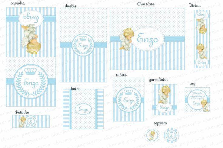 Kit Digital para imprimir - Anjinho Provençal - Azul e Branco