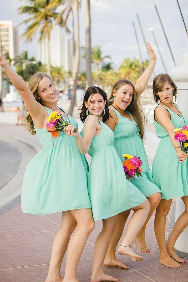 Turquoise bridesmaid dresses: Club Monaco,The Parrot House - Fun Fort Lauderdale Beach Wedding by Elaine Palladino Photography - via ruffled