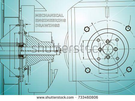 Technical illustration. Mechanical engineering. Backgrounds of engineering subjects. Light blue  #bubushonok #art #bubushonokart #design #vector #shutterstock  #technical #engineering #drawing #blueprint   #technology #mechanism #draw #industry #construction #cad