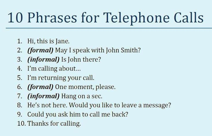10 phrases for telephone calls #English