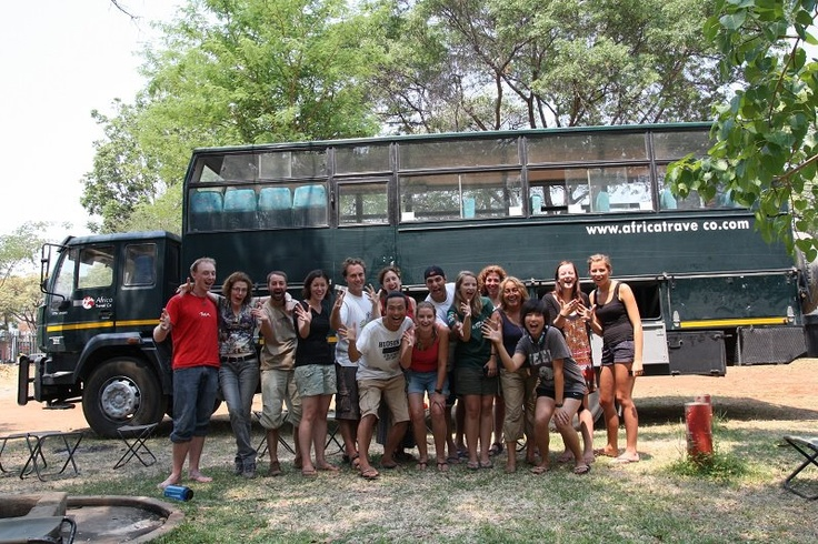 The group and the truck of an Africa Travel Co adventure