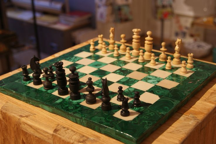 Complete Malachite Chessboard and vintage French wooden chess set by AntiqueCandlesticks on Etsy