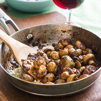 Sautéed Button Mushrooms in White Wine, Garlic, Lemon  JUST USE EVOO, NO BUTTER FOR HEALTIER VERSION.  GZ