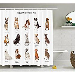 Dog Lover Decor Shower Curtain Set By Ambesonne, A Group Of Different Puppy Breeds Family Type Species Dalmatian Husky Bulldog Image Print, Bathroom Accessories, 69W X 70L Inches, Multi