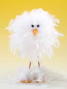 Cute feathery Easter chick with easy directions. Need: styrofoam ball, thin dowels for legs, white feather boa, bit of orange felt for feet and beak, black beads for eyes. Glue gun.