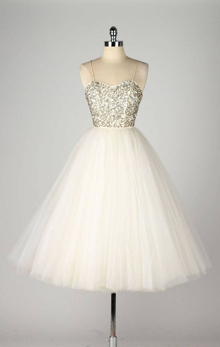 Vintage 1950's Emma Domb Sequins Tulle Dress w/ Original Tags