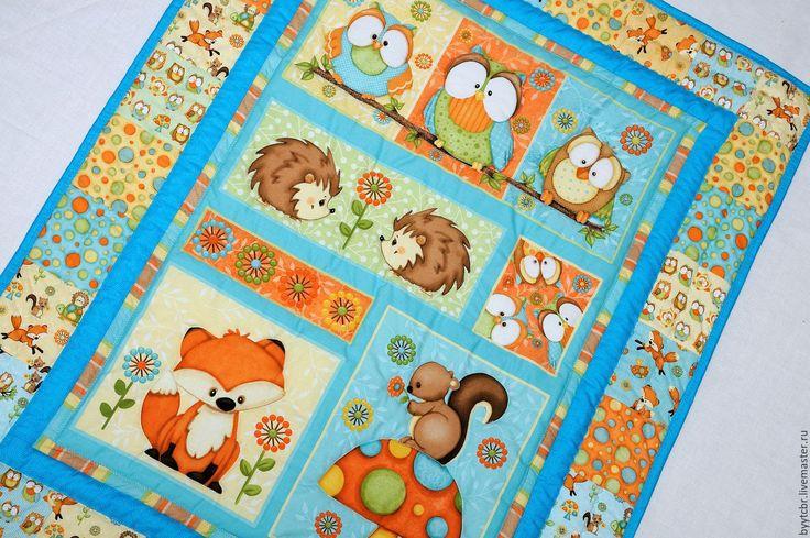 Купить Детское одеяло ЛЕСНЫЕ ЗВЕРЯТА одеяло детское купить - лоскутное одеяло