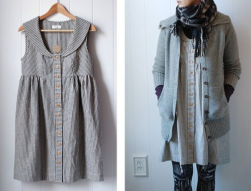 indigo striped dress by wikstenmade, via Flickr