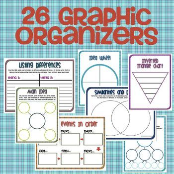 These graphic organizers are designed to help students learn cognitive organization skills. They are most helpful for students with difficulties such as ADD or ADHD, but are useful to most other students as well! #graphicorganizers #ADHD #reading