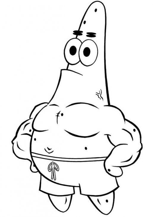 Patrick Showing Off His Muscle Online Coloring Picture