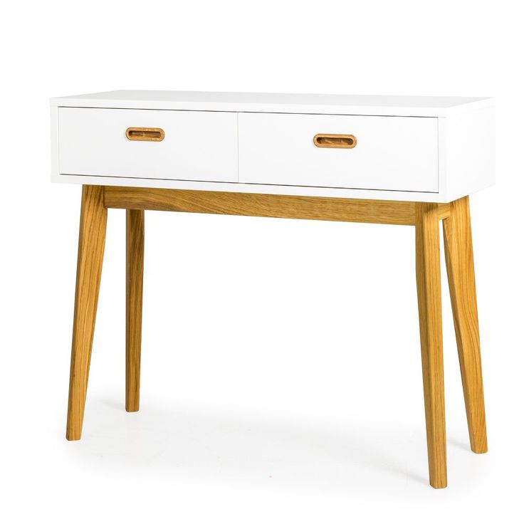 Bess avlastningsbord vit/ek, b 98 cm