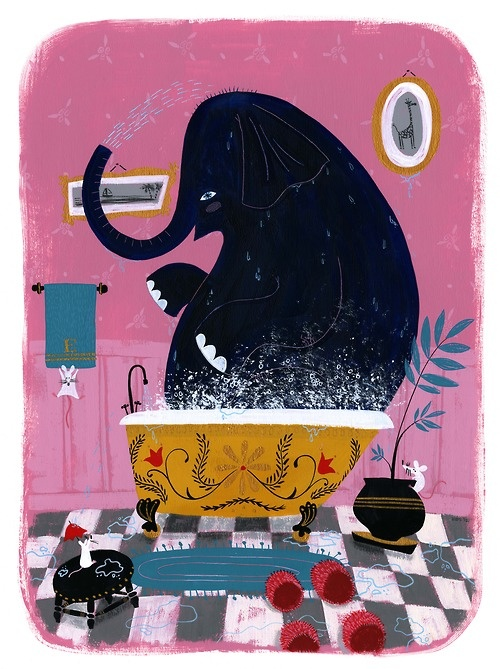 It is always a tight fit. Elephant in the Tub, Ellen Surrey