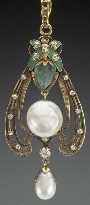 An Art Nouveau gold, pearl, glass, diamond, enamel and ruby pendant, by Gorham Manufacturing Company, American, circa 1900. #Gorham #ArtNouveau #pendant
