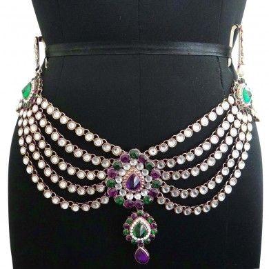Gold Tone CZ Stone Designer Waist Belt Jewelry Wedding Kamar Bandh Jewellry