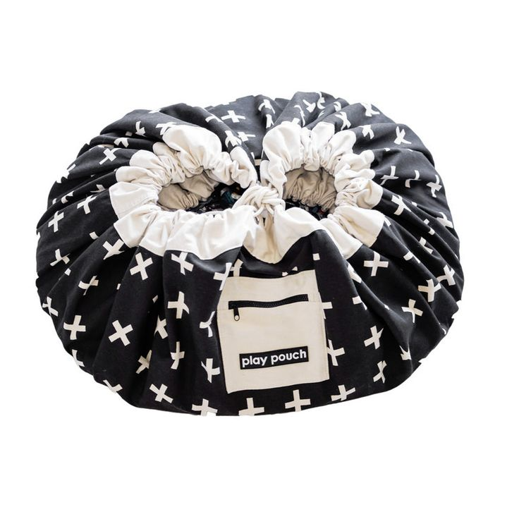 Play Pouch - Black & White Crosses Storage Pouch | Peter's of Kensington