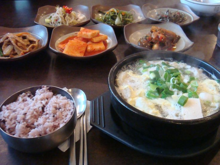 Dried Pollack Soup(so-called Hwangtaegook in Korean) with a bowl of steamed rice and side dishes.