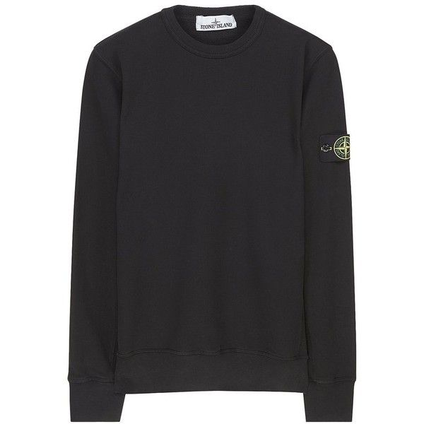 65320 Garment-Dyed Sweatshirt in Black Stone Island (10.545 RUB) ❤ liked on Polyvore featuring tops, hoodies, sweatshirts, garment dyed sweatshirt, stone island sweatshirt and stone island