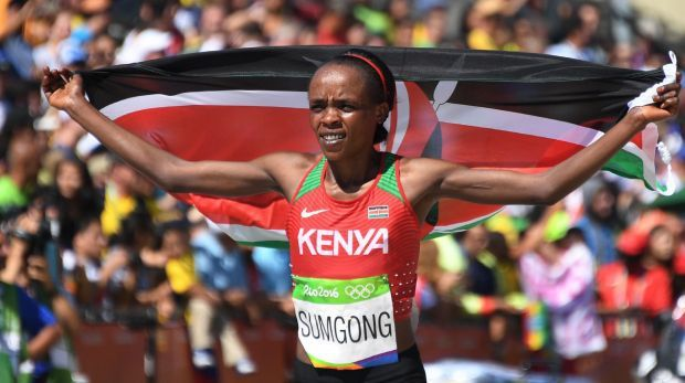 Kenya's Jemima Sumgong won another title in Brazil this year, setting a record for the St. Silvester road race following her gold in the marathon at the Rio Olympics.    Sumgong, who also won the 2016 London