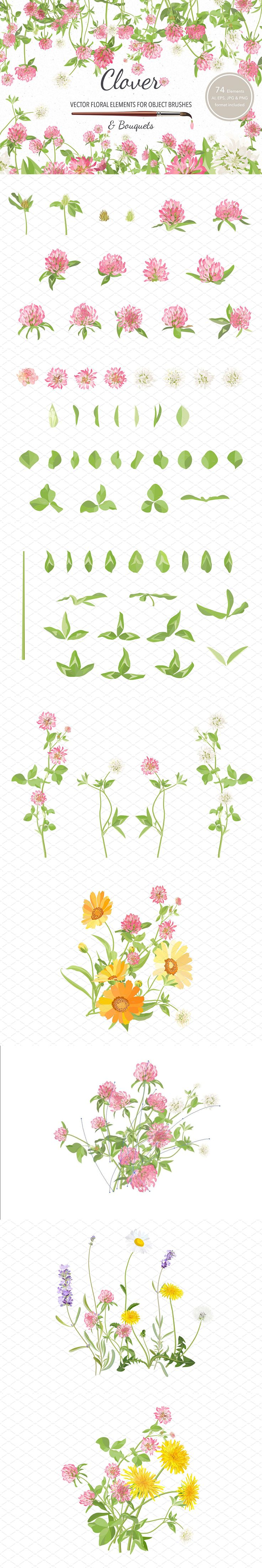 #FREE : #Vector #floral elements with object brushes. 74 flower vector elements (stems, leaves and flowers), plus 5 #illustrations with #bouquet of Clover. ( #scrapbooking #freebies #art #watercolor )