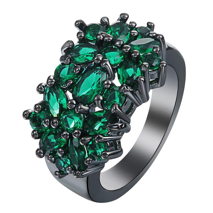 Nuovo Fiore nero Anelli per le donne gioielli di moda regalo elegante principessa Verde Pietra ceco zircone Anello Di Fidanzamento di Prezzi di fabbrica
