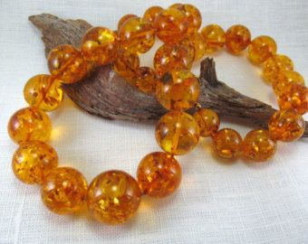 Beautiful Baltic Amber Necklace 18.1 Natural Round by ElinEcoArt